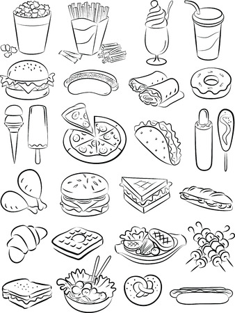 fried noodles: vector illustration of fast food collection in black and white
