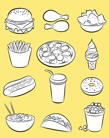 fried noodle: vector illustration of fast food collection Illustration