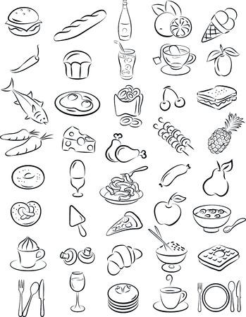 Ilustración del vector de recogida de alimentos en blanco y negro Ilustración de vector