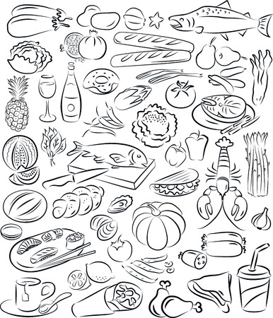 leek: vector illustration of food collection in black and white