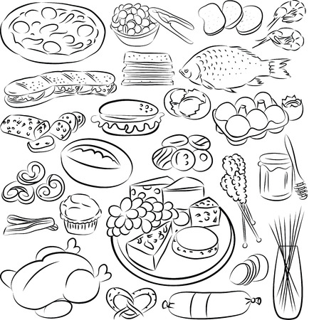 ham sandwich: vector illustration of food collection in black and white