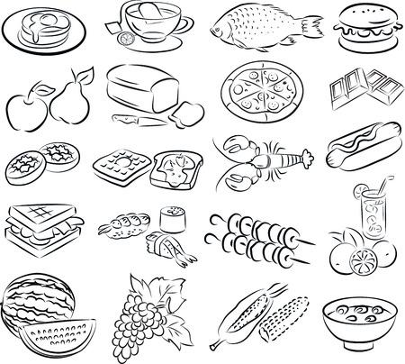 ilustración vectorial de recogida de alimentos en el modo de gráficos de línea