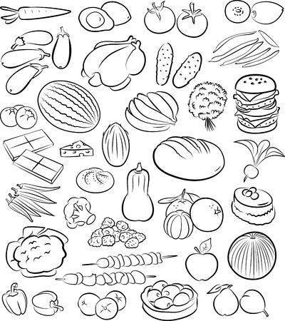 ilustración vectorial de recogida de alimentos en el modo de gráficos de línea Ilustración de vector