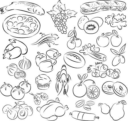 vector illustratie van voedsel collectie in zwart-wit