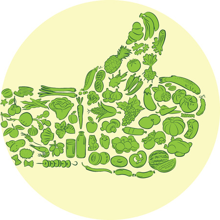 grapes and mushrooms: Vector illustration of hand made of food items gesturing thumbs up  Illustration