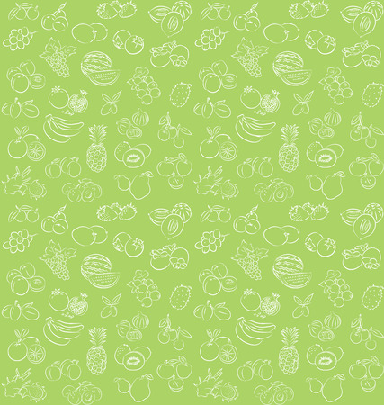 vector illustration of seamless fruits collection pattern Vector