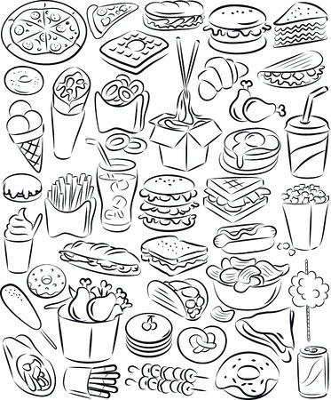 vector illustratie van fastfood collectie in zwart-wit