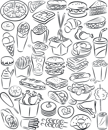 vector illustration of fast food collection in black and white