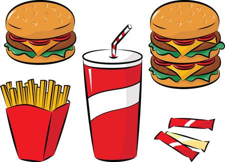 prepared potato: vector illustration of fast food collection Illustration