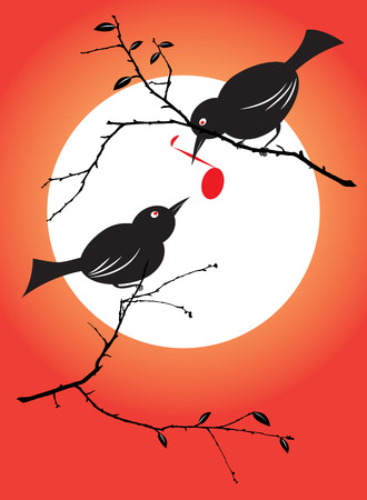 warble: vector illustration of a bird couple feeding each other with a musical symbol