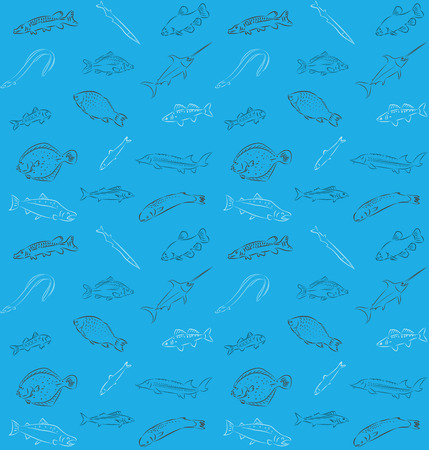 Vector illustration of seamless fish pattern Vector
