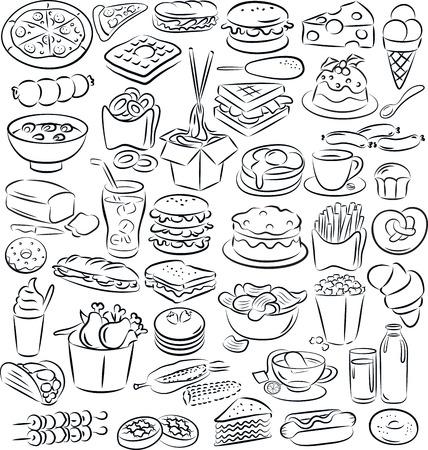 vector illustratie van eten en drinken collectie in zwart-wit