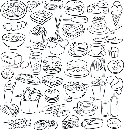 vector illustration of food and drink collection in black and white Vector