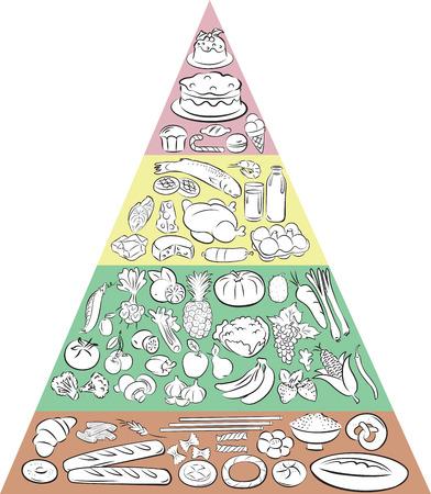 Ilustración del vector de la pirámide de alimentos que muestra los principales grupos de alimentos