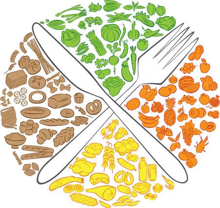 Vector illustratie van gekruiste mes en vork met voedsel