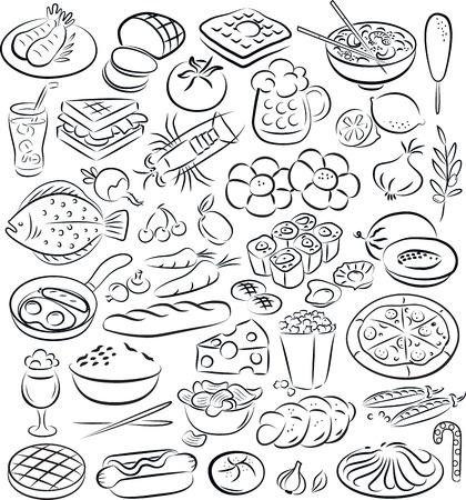 ilustración vectorial de recogida de alimentos en blanco y negro Ilustración de vector