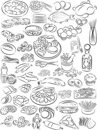 ilustración vectorial de recogida de alimentos en blanco y negro