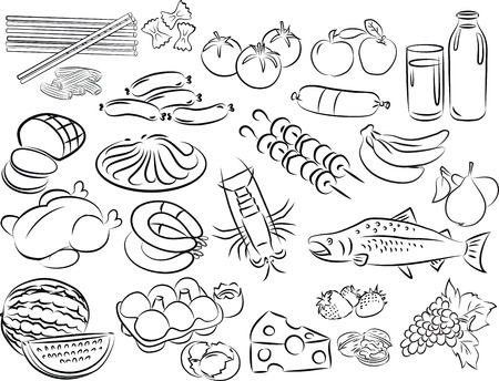 milk cheese: vector illustration of  food collection in black and white