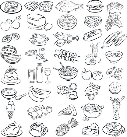 vector illustration of food collection in line art mode Vector