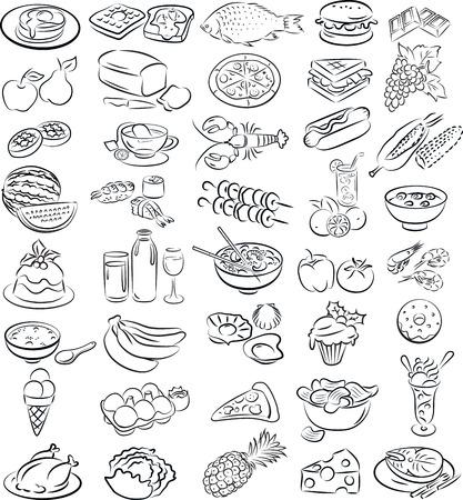 streckbilder: vektor illustration av samlingen mat i linje konstläge