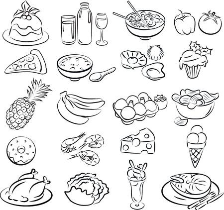 Vector illustratie van voedsel collectie in zwart-wit Stockfoto - 26617938