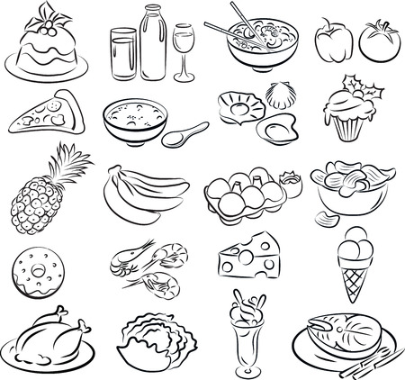 Vector illustration of food collection in black and white Vector
