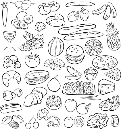 sweet bun: vector illustration of food collection in line art mode