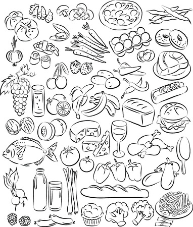 Vector illustration of food collection in black and