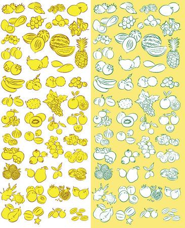 Vector Illustration of fruit icon set  Illustration