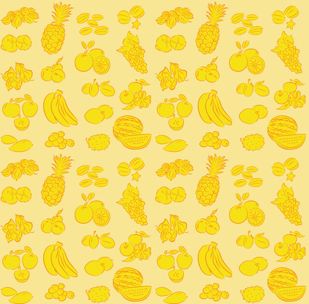 dates fruit: vector illustration of seamless fruits collection pattern