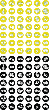 Vector Illustration of  fruit icon set in black and white and line art mode Vector