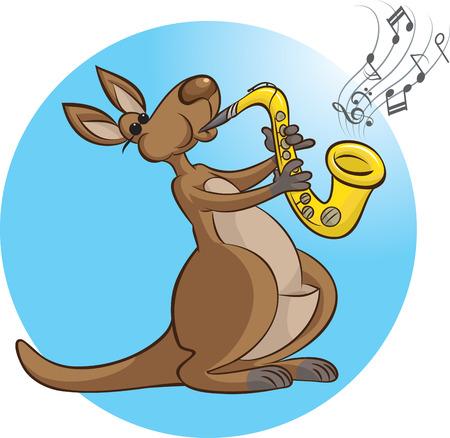 vector illustration of Kangaroo playing saxophone
