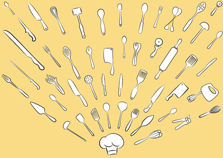 Vector illustration of cooking utensil set Vector