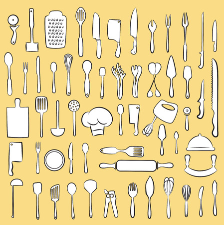 meat knife: Vector illustration of cooking utensil set Illustration