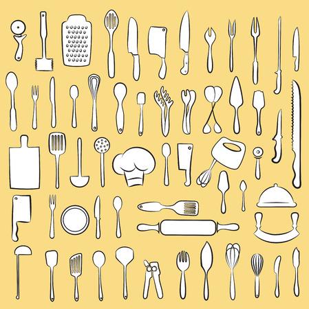 slotted: Vector illustration of cooking utensil set Illustration