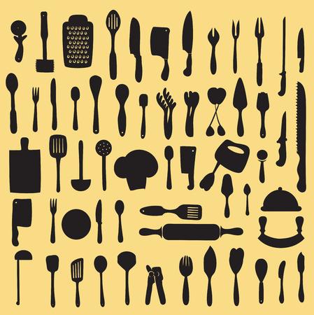 back lit: Ilustraci�n vectorial de conjunto utensilio de cocina Vectores