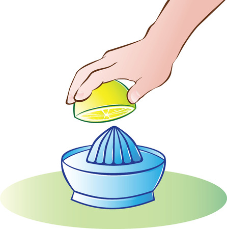 juicer: vector illustration of hand juicing lemon Illustration