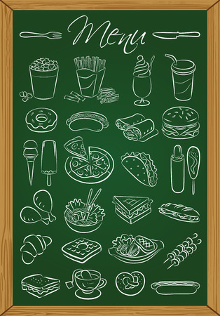 Vector illustration of food icons drawn on green chalkboard Stock Vector - 26610208