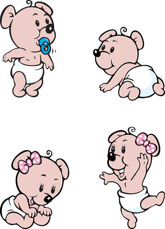 diaper baby: Vector illustratin of baby bear mascot in various poses Illustration