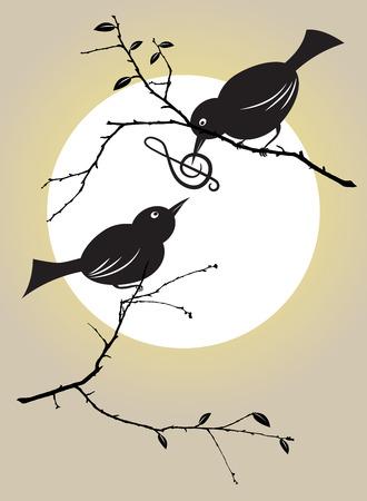 clave de sol: vector illutration de un par de aves que se introducen con un símbolo musical Vectores