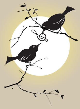 warble: vector illutration of bird couple feeding each other with a musical symbol