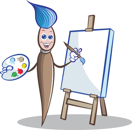 illustratin: Vector illustratin of Paint brush mascot