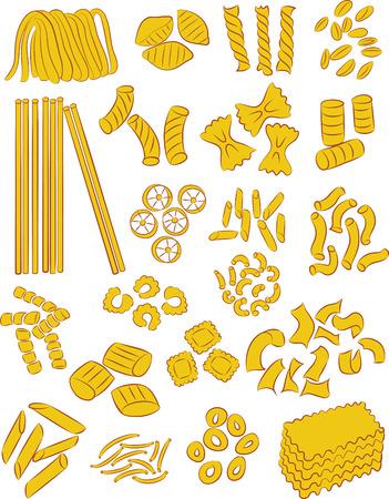 vector selectie van verschillende soorten pasta