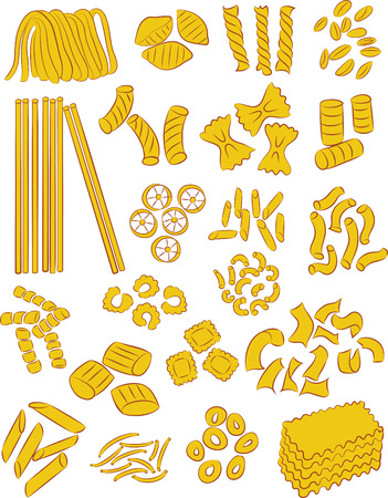 vector selection of different types of pasta