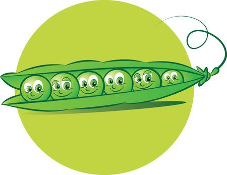 illustrazione vettoriale di sei piselli in un baccello