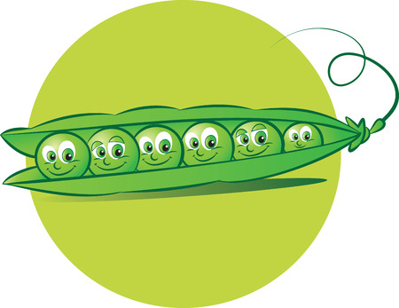 peas: vector illustration of six peas in a pod