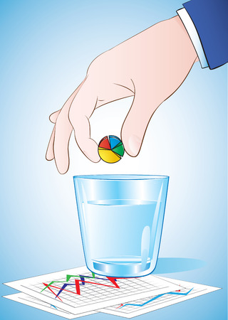 Hand putting pie chart pill into the glass of water