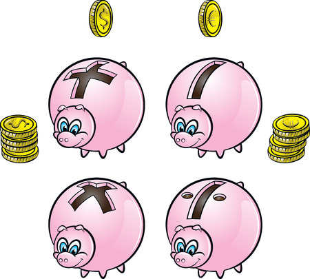 arithmetical: Piggy banks with four arithmetical operations signs