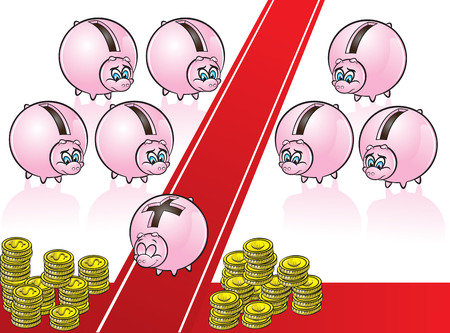 vector illustration of a piggy bank with plus sign walking on red carpet while other piggy banks with minus sign watching him sadly Ilustrace
