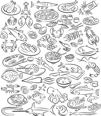 바다 음식 컬렉션의 벡터 일러스트 레이 션 검은 색과 흰색
